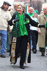 Democratic presidential hopeful New York Senator Hillary Clinton participates in a St. Patrick's Day Parade in Scranton, PA, USA on March 15, 2008, as she is trying to gain support ahead of Pennsylvania's presidential primary scheduled for April 22, 2008. Photo by Dennis Van Tine/ABACAPRESS.COM