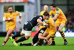 Michael Le Bourgeois of Wasps is tackled by Dave Ewers of Exeter Chiefs - Mandatory by-line: Dougie Allward/JMP - 30/11/2019 - RUGBY - Sandy Park - Exeter, England - Exeter Chiefs v Wasps - Gallagher Premiership Rugby