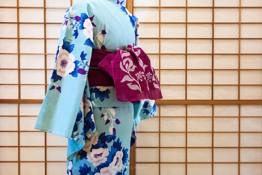 JAPAN, TOKYO -  Kururi Kimono light blue and light pink flowers, Dark blue leaves - from the shop Kururi in Omotesando - 06-2014
