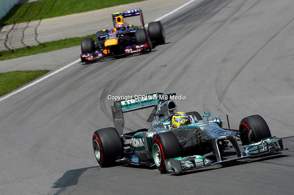 MOTORSPORT - F1 2013 - GRAND PRIX OF CANADA - MONTREAL (CAN) - 07 TO 09/06/2013 - PHOTO ERIC VARGIOLU / DPPI ROSBERG NICO (GER) - MERCEDES GP MGP W04 - ACTION<br /> WEBBER MARK (AUS) - RED BULL RENAULT RB9 - ACTION