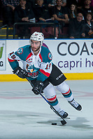 KELOWNA, CANADA - APRIL 30: Dillon Dube #19 of the Kelowna Rockets skates with the puck against the Seattle Thunderbirds on April 30, 2017 at Prospera Place in Kelowna, British Columbia, Canada.  (Photo by Marissa Baecker/Shoot the Breeze)  *** Local Caption ***