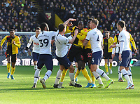 Football - 2019 / 2020 Premier League - Watford vs. Tottenham Hotspur<br /> <br /> Abdoulaye Doucoucoure of Watford clashes with Jan Vertonghen of Spurs, at Vicarage Road.<br /> <br /> COLORSPORT/ANDREW COWIE