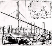 Hevelius observing with a wooden-tubed refracting telescope some 30 feet (9.144m).  The block-and-tackle and rope mounting was not inconvenient. From 'Selenographia' by Johannes Hevelius (Gedani, Gdansk. Danzig,  1647).   Engraving.