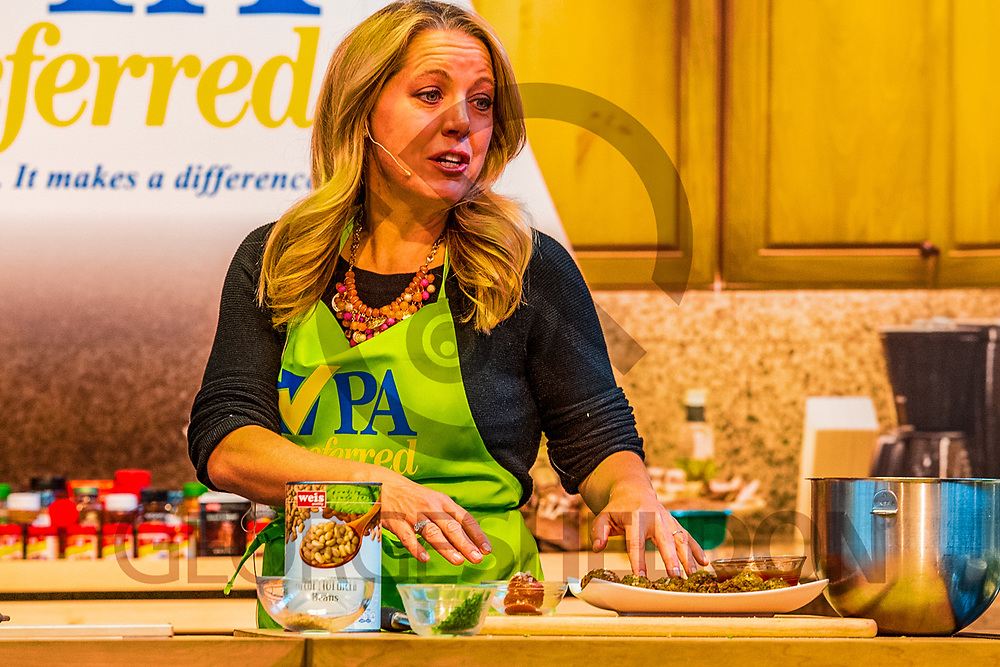 Harrisburg, PA -  January 8, 2017: Cookbook author and Celebrity Chef Melissa d'Arabian, prepares eggplant meatballs - with no meat - during a cooking demonstration at the PA Farm Show.