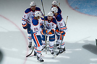 PENTICTON, CANADA - SEPTEMBER 9: Ethan Bear #74, William Lagesson #89, Ethan Szypula #68, Brandon Saigeon #46 and Joseph Gambardella #45 of Edmonton Oilers celebrate an empty net goal against the Winnipeg Jets on September 9, 2017 at the South Okanagan Event Centre in Penticton, British Columbia, Canada.  (Photo by Marissa Baecker/Shoot the Breeze)  *** Local Caption ***