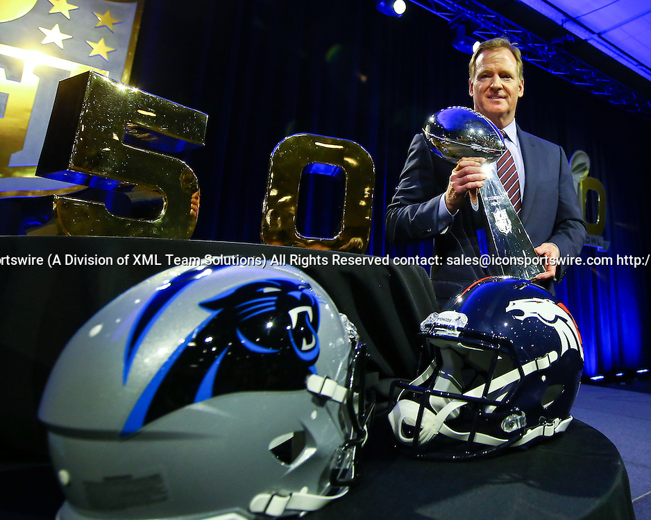 05 FEB 2016: Commissioner Roger Goodell holds the Vince Lombardi Trophy after his Press Conference at the Moscone Center in San Francisco California.  (Photo by Rich Graessle/Icon Sportswire)