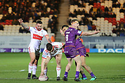 Huddersfield Giants hooker Adam OBrien (9) appeals to the referee at a play the ball during the Betfred Super League match between Hull Kingston Rovers and Huddersfield Giants at the Hull College Craven Park  Stadium, Hull, United Kingdom on 21 February 2020.