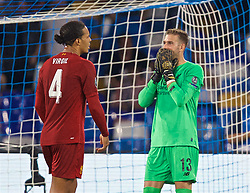 NAPLES, ITALY - Tuesday, September 17, 2019: Liverpool's goalkeeper Adrián San Miguel del Castillo (R) looks dejected as a penalty is awarded to SSC Napoli during the UEFA Champions League Group E match between SSC Napoli and Liverpool FC at the Studio San Paolo. (Pic by David Rawcliffe/Propaganda)