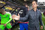 ARNHEM, Vitesse - Ajax, voetbal, Eredivisie seizoen 2015-2016, 25-10-2015, Stadion De Gelredome, Ajax coach Frank de Boer (R) is blij met de overwinning.