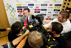 Slavisa Stojanovic, a new head coach of Slovenian National football Team talks to journalists during press conference of Football federation of Slovenia, on October 24, 2011, in Brdo pri Kranju, Slovenia.  (Photo by Vid Ponikvar / Sportida)