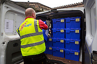 A council man carrying ballot boxes to the van.<br /> Ballot boxes delivered. Ballot boxes to be used for voting in the Scottish independence referendum will be picked up by van from storage for delivery to Edinburgh's 145 polling places. .<br /> Pako Mera/Universal News And Sport (Europe)17/09/2014