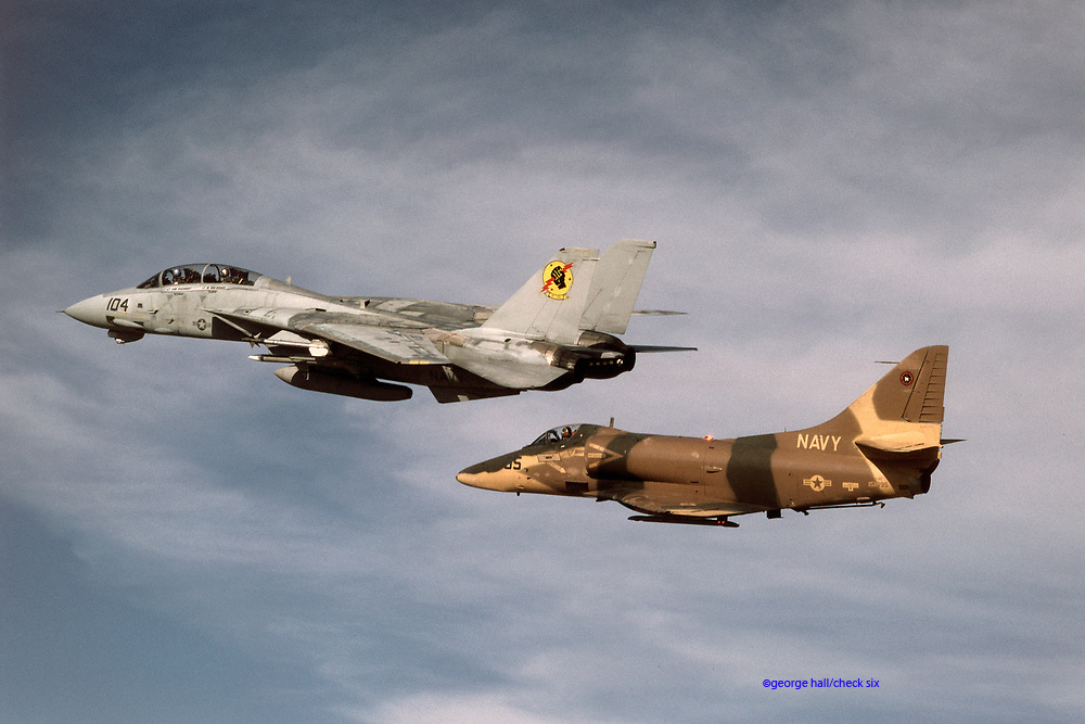 F-14 and A-4 flown by &quot;Iceman&quot; and &quot;Viper&quot;<br /> during the filming of TOP GUN