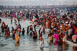 Millions take a dip in the Holy Ganges River on Hinduism's most auspicious day. It is said that on February 10th, some 40 million people bathed in the Ganges.