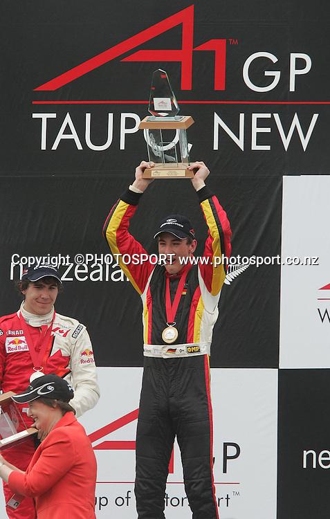 Germany driver Christian Vietoris celebrates his victory. A1 GP feature race, Taupo, New Zealand, Sunday 20 January 2008. Photo: Renee McKay/PHOTOSPORT