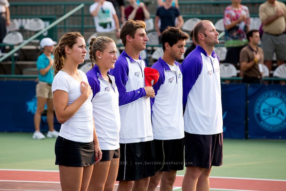 Members of the Springfield Lasers stand during the National Anthem prior to a match against the Washington Kastles at Mediacom Stadium on July 11, 2012 in Springfield, Missouri. (David Welker/www.Turfimages.com).