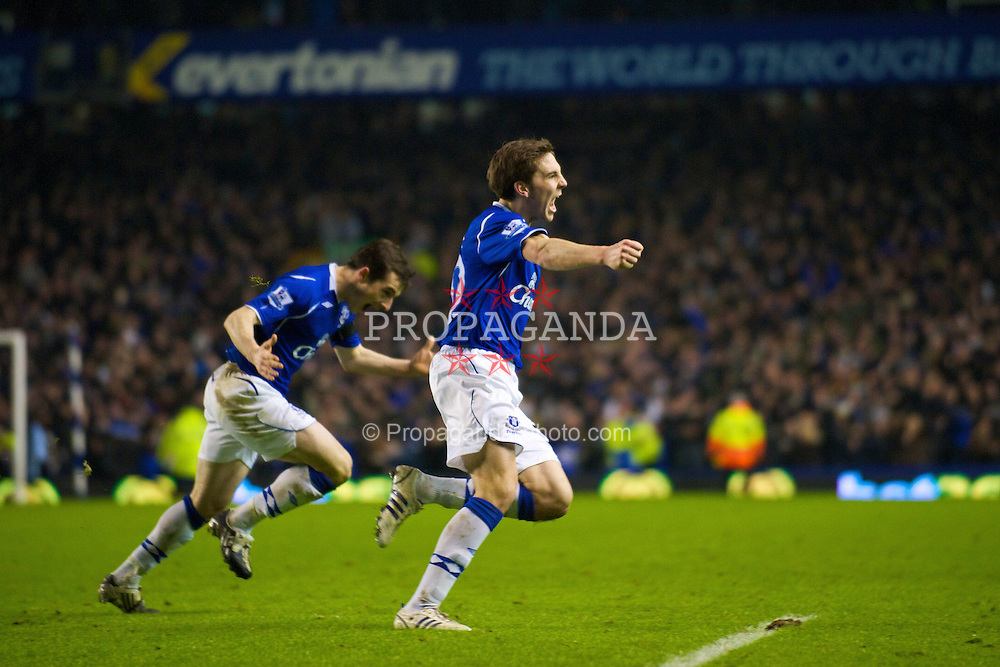 LIVERPOOL, ENGLAND - Wednesday, February 4, 2009: Everton's Dan Gosling celebrates his extra time winning goal against Liverpool during the FA Cup 4th Round Replay match at Goodison Park. (Mandatory credit: David Rawcliffe/Propaganda)