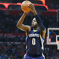12 April 2016: Memphis Grizzlies forward JaMychal Green (0) takes a jump shot during the Los Angeles Clippers 110-84 victory over the Memphis Grizzlies, at the Staples Center, Los Angeles, California, USA.