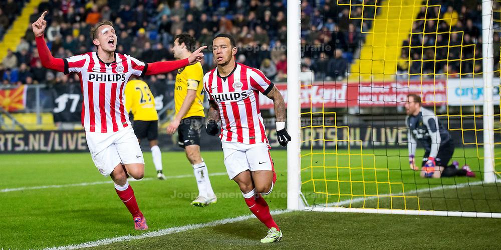 BREDA, NAC Breda - PSV, voetbal Eredivisie seizoen 2014-2015, 03-02-2015, Rat Verlegh Stadion, PSV speler Memphis Depay (2R) heeft de 0-1 gescoord, PSV speler Luuk de Jong (L) juicht, NAC Breda speler Dirk Marcellis (M) en NAC Breda keeper Jelle ten Rouwelaar (R) balen.