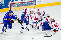 Artem Bondaryev of Ukraine vs Tomaz Razingar of Slovenia, Robert Kristan of Slovenia and Andrej Tavzelj of Slovenia during ice-hockey match between Slovenia and Ukraine at IIHF World Championship DIV. I Group A Slovenia 2012, on April 19, 2012 in Arena Stozice, Ljubljana, Slovenia. Slovenia defeated Ukraine 3-2. (Photo by Vid Ponikvar / Sportida.com)