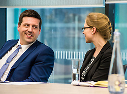 Pictured: Jamie Hepburn and Emma Jones, EY Recruitment<br /> <br /> Minister for Employability and Training Jamie Hepburn visited Ernst and Young (EY) in Edinburgh today (15 May) to comment on the latest Labour Market statistics.  While there Mr Hepburn met apprentices Ruairidh Kilgour and Kate Eltringham, Laura Sleigh and Emma Jones, EY Recruitment and Margaret Gibson, OBE, EY Foundatio Scotland Hub Leader.<br /> <br /> Ger Harley | Edinburgh Elite Media