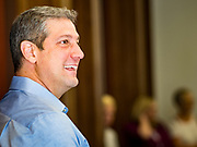 "01 JUNE 2019 - AMES, IOWA: Congressman TIM RYAN (D-OH) prepares to speak at a campaign event in Ames Saturday. Ryan declared his candidacy for the US Presidency on the US television show ""The View"" on April 4. Ryan represents Ohio's 13th District, which includes Lordstown, where a large General Motors plant recently closed. Iowa traditionally hosts the the first election event of the presidential election cycle. The Iowa Caucuses will be on Feb. 3, 2020.               PHOTO BY JACK KURTZ"