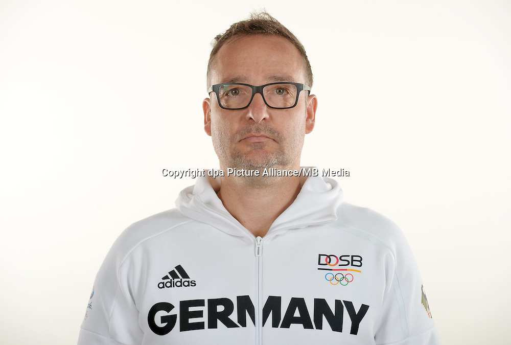 Joachim Schmidt poses at a photocall during the preparations for the Olympic Games in Rio at the Emmich Cambrai Barracks in Hanover, Germany. July 25, 2016. Photo credit: Frank May/ picture alliance. | usage worldwide