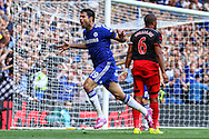 Diego Costa of Chelsea  celebrates scoring his second goal of the game against Swansea City to make it 2-1 during the Barclays Premier League match at Stamford Bridge, London<br /> Picture by David Horn/Focus Images Ltd +44 7545 970036<br /> 13/09/2014