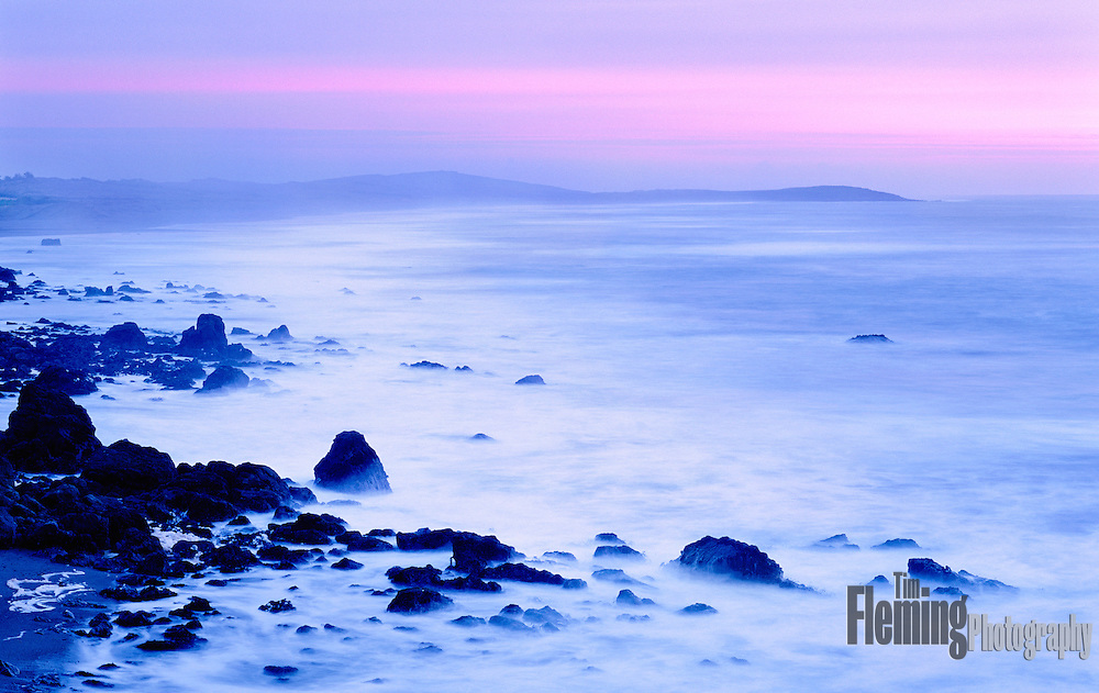 Along the Sonoma County coastline, a low tide and winter clouds create a tranquil scene.