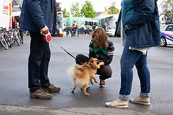 Esther van Veen of Parkhotel Valkenburg plays with a dog before Stage 2 of the Festival Elsy Jacobs - a 111.1 km road race, starting and finishing in Garnich on April 29, 2018, in Luxembourg. (Photo by Balint Hamvas/Velofocus.com)