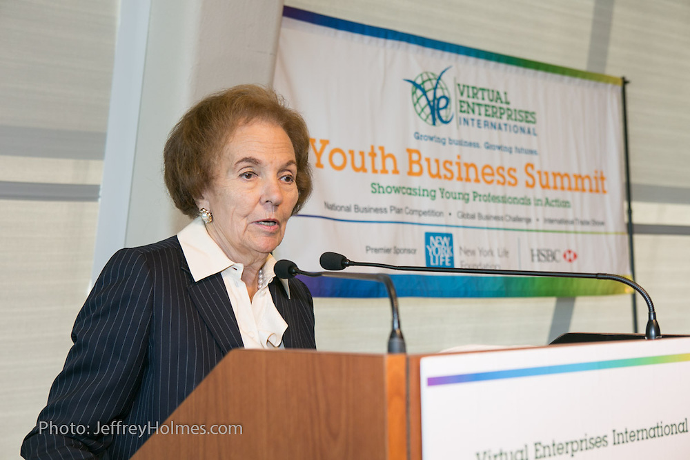 Dr. Charlotte Frank, Sr. Advisor, McGraw-Hill Education and Chair, VEI Board of Directors, speaking to students Virtual Enterprises International's Global Business Challenge was part of the Youth Business Summit held at NYU's Kimmel Center in New York on April 1, 2014. (Photo: JeffreyHolmes.com)