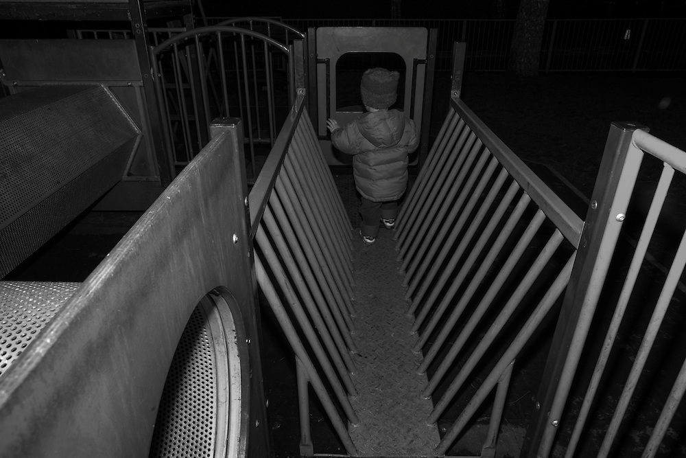 Joe makes his way through a kiddie maze at the local playground in Berkhamsted, England Tuesday, Feb. 17, 2015 (Elizabeth Dalziel) #thesecretlifeofmothers #bringinguptheboys #dailylife