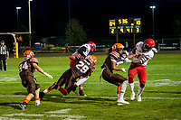 KELOWNA, BC - AUGUST 17:  Nate Adams #41 and Brenden RIPCO #29 of Okanagan Sun block the Westshore Rebels during the third quarter at the Apple Bowl on August 17, 2019 in Kelowna, Canada. (Photo by Marissa Baecker/Shoot the Breeze)