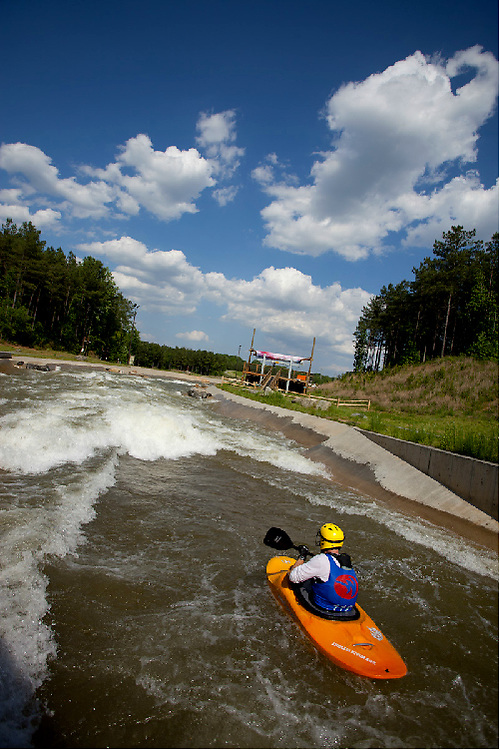 A sunny day for a paddle at The National Whitewater Center just outside Charlotte, NC. The complex provides a wide range of rapid classes as well as flat water kayaking, zip-lines and trails for biking and hiking.