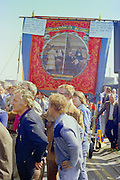 This Armthorpe miners banner last appeared during the 1926 General Strike, seen here at the start of a march against anti trade union legislation. Sheffield 1980.