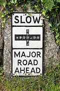 Old fashioned sign warning of major road junction ahead, St Keverne, Lizard peninsula, Cornwall, England, UK
