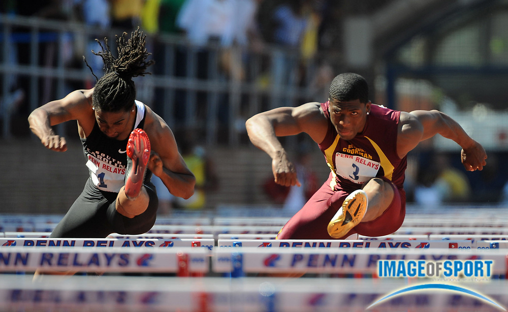 Apr 25, 2009, Philadelphia, PA, USA; Jason Richardson of South Carolina (left) and Ronnie Ash of Bethune-Cookman finished first and second in the college 100m hurdles championship in 13:56 and 13:58, respectively, in the 115th Penn Relays at the University of Pennsylvania's Franklin Field.