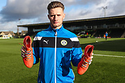 Forest Green Rovers goalkeeper Bradley Collins(1) showing off the Rainbow laces during the EFL Sky Bet League 2 match between Forest Green Rovers and Cheltenham Town at the New Lawn, Forest Green, United Kingdom on 25 November 2017. Photo by Shane Healey.