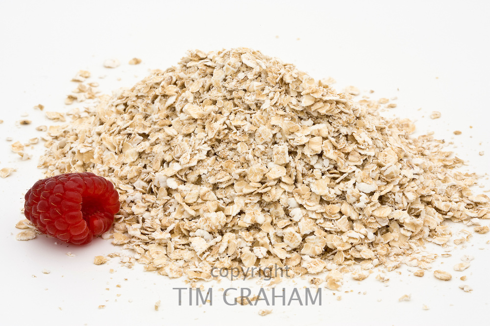 Raspberry and porridge rolled oats, London, England, United Kingdom