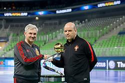 Venacio Lopez, head coach of Spain and Jorge Braz, head coach of Portugal at photoshoting with trophy before final of UEFA Futsal EURO 2018, on February 9, 2018 in Arena Stozice, Ljubljana, Slovenia. Photo by Urban Urbanc / Sportida