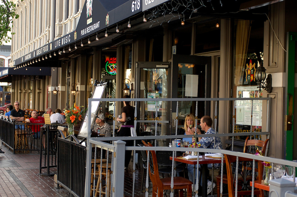 Outdoor seating, Restaurant, Gaslamp Quarter, Downtown, San Diego, California, United States of America