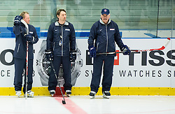 Vladimir Vujtek, head coach (R) and his assistants  during practice session of Slovakia Ice Hockey National Team at Day 4 of 2015 IIHF World Championship, on May 4, 2015 in Practice arena Vitkovice, Ostrava, Czech Republic. Photo by Vid Ponikvar / Sportida
