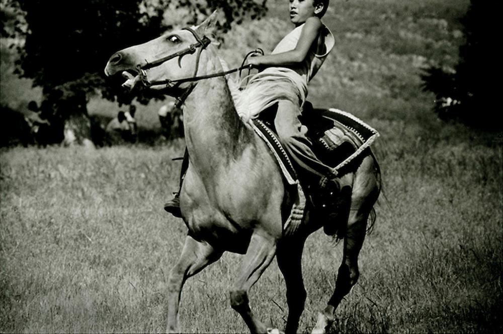 Lakota Sioux Indian on Pine Ridge Reservation in South Dakota, USA.
