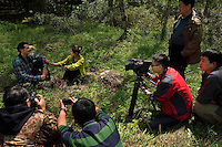 Wildlife photographer Staffan Widstrand gets interviewed by Sichuan TV, Tangjiahe National Nature Reserve, NNR, Qingchuan County, Sichuan province, China