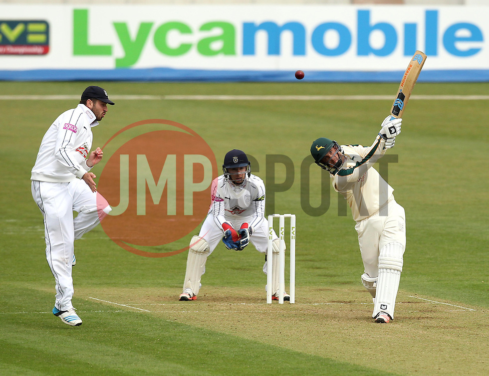 Nottinghamshire's Steven Mullaney hits over the top - Photo mandatory by-line: Robbie Stephenson/JMP - Mobile: 07966 386802 - 26/04/2015 - SPORT - Cricket - Southampton - The Ageas Bowl - Hampshire v Nottinghamshire - County Championship Division One