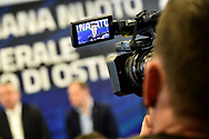 Roma 13-3-2019 Centro Federale di Ostia <br /> Swimmer Manuel Bortuzzo seen on a camera screen during a meeting with the press. Manuel Bortuzzo was shot in the back due to a mistaken identity and is paralysed from the waist down since then. This is the first outing of Manuel from the hospital and the rehabilitation center.  <br /> Foto Andrea Staccioli / Deepbluemedia / Insidefoto