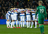 Football - 2018 / 2019 Emirates FA Cup - Fifth Round: Queens Park Rangers vs. Watford<br /> <br /> Queens Park Rangers players in a huddle before kick off at Loftus Road<br /> <br /> COLORSPORT/DANIEL BEARHAM