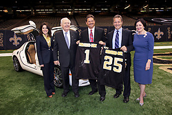 04 October 2011. New Orleans, Louisiana, USA.  <br /> NFL's New Orleans Saints announce a multi million dollar deal with Mercedes-Benz for naming rights on the Louisiana Superdome. Now the Mercedes-Benz Superdome. L/R Rita Benson Leblanc (VP Saints), Tom Benson (owner Saints), Mercedes-Benz USA President and CEO Ernst Leib and Mercedes-Benz VP Marketing Stephen Cannon and Gayle Benson.<br /> Photo; Charlie Varley/varleypix.com