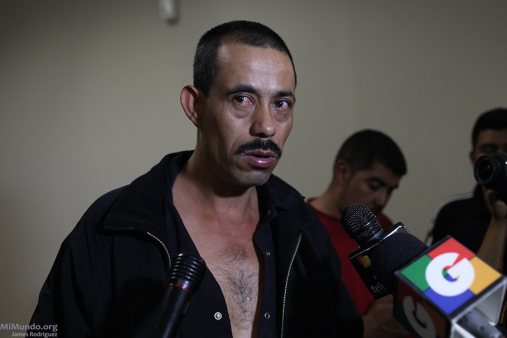 Adolfo Agustín García, 42, from El Volcancito, San Rafael Las Flores, declares to the press at the Public Prosecutors Office to denounce the shooting perpetrated against him and five others by the Escobal Project's security personnel. The six men were walking towards a peaceful protest camp rejecting the mining project on Saturday, April 27, when head security chief Alberto Rotondo, a Chilean citizen, order the shooting. Rotondo was later captured at the Aurora Airport attempting to escape the arrest order issued against him. Meanwhile, the official signing between the Guatemalan Government and Tahoe Resources & Goldcorp's El Escobal Silver mine went ahead as scheduled on April 29th. Guatemala City, Guatemala. April 29, 2013.