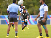 Lepani Botia doing ball skills training  during the Fiji Training Session in preparation for the Rugby World Cup at London Irish RFC, Sunbury-On-Thames, United Kingdom on 14 September 2015. Photo by Ian Muir. during the Fiji Training Session in preparation for the Rugby World Cup at London Irish RFC, Sunbury-On-Thames, United Kingdom on 14 September 2015. Photo by Ian Muir.