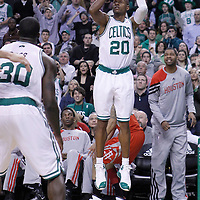 06 March 2012: Boston Celtics shooting guard Ray Allen (20) takes a three points jumpshot to tie the game and force the overtime during the Boston Celtics 97-92 (OT) victory over the Houston Rockets at the TD Garden, Boston, Massachusetts, USA.